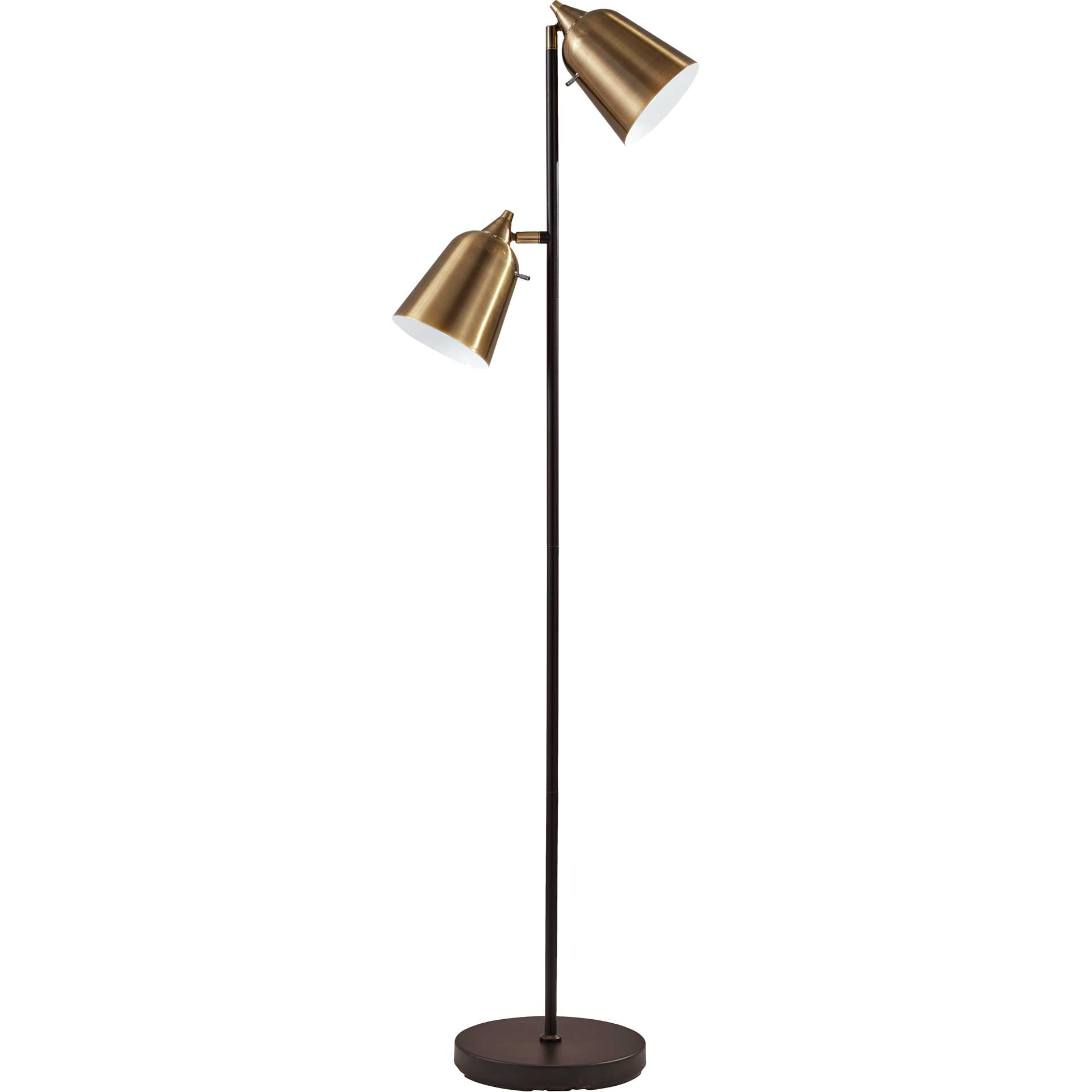 Macon Floor Lamp Black/Antique Brass