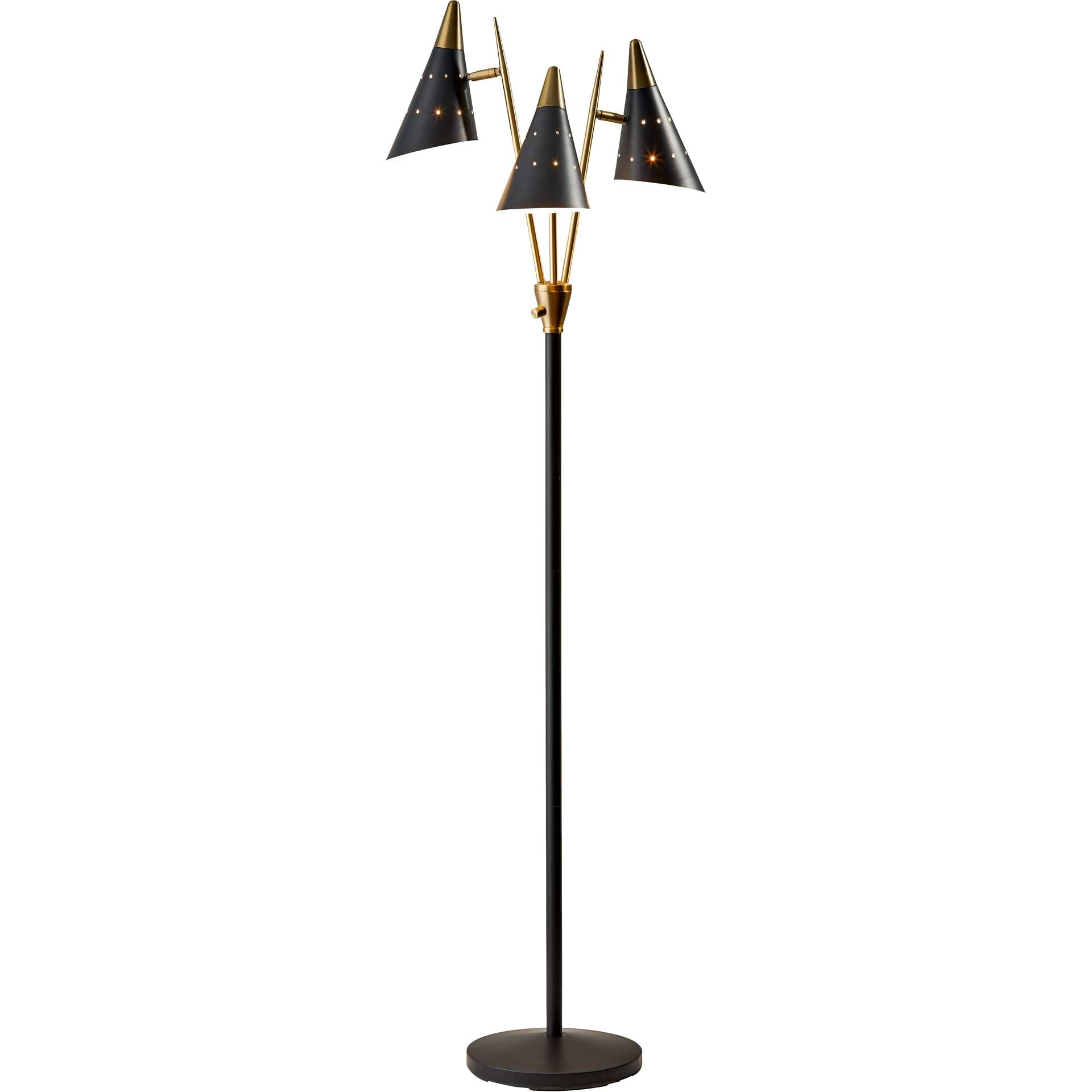 Nancy 3-Arm Floor Lamp Black/Brass