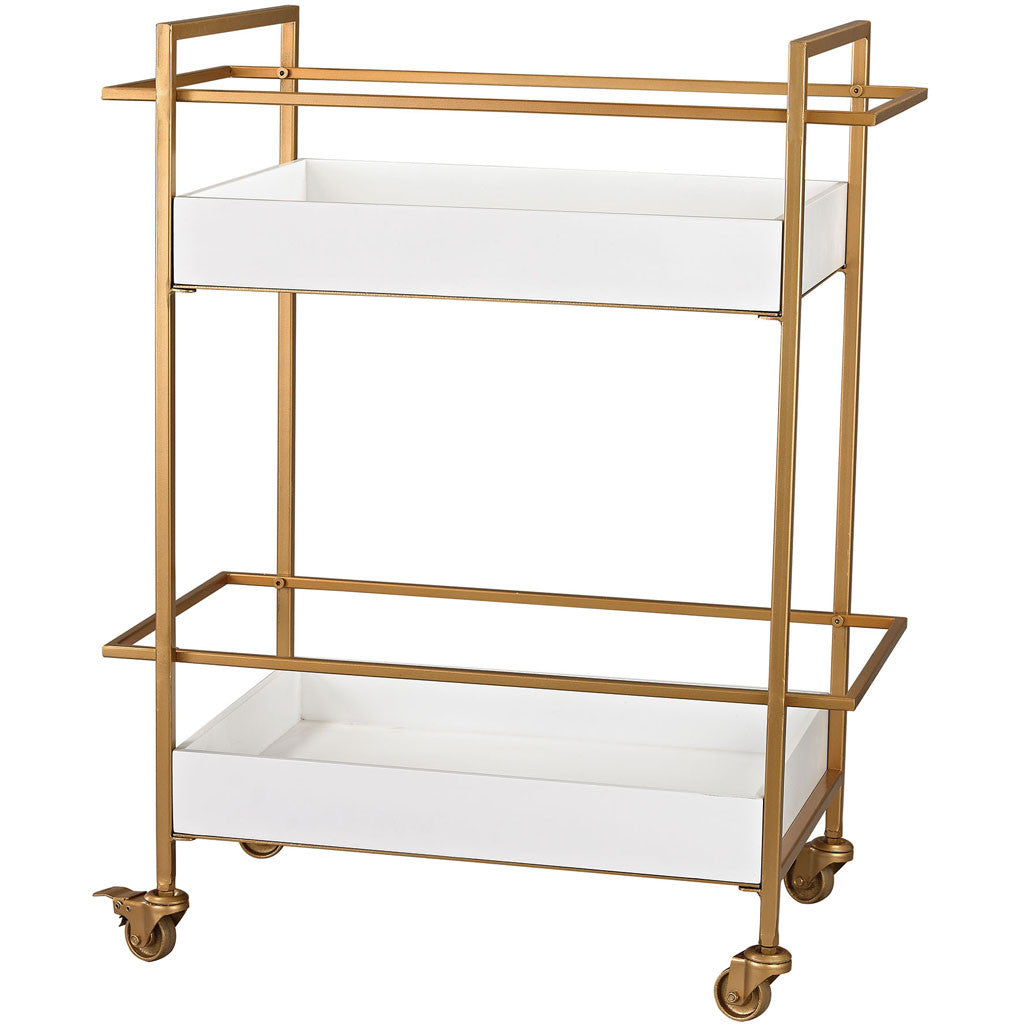 Otto Gold/White Bar Cart