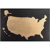 World Map Gold on Black