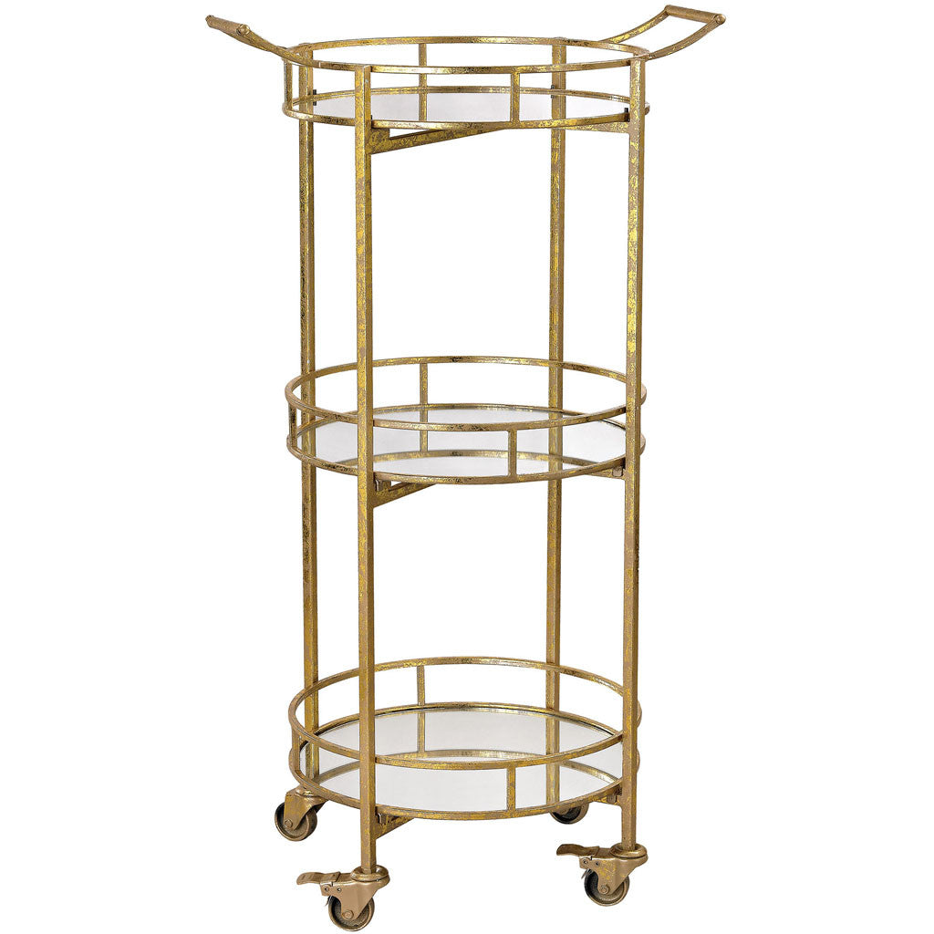 Ferra Gold Leaf Bar Cart