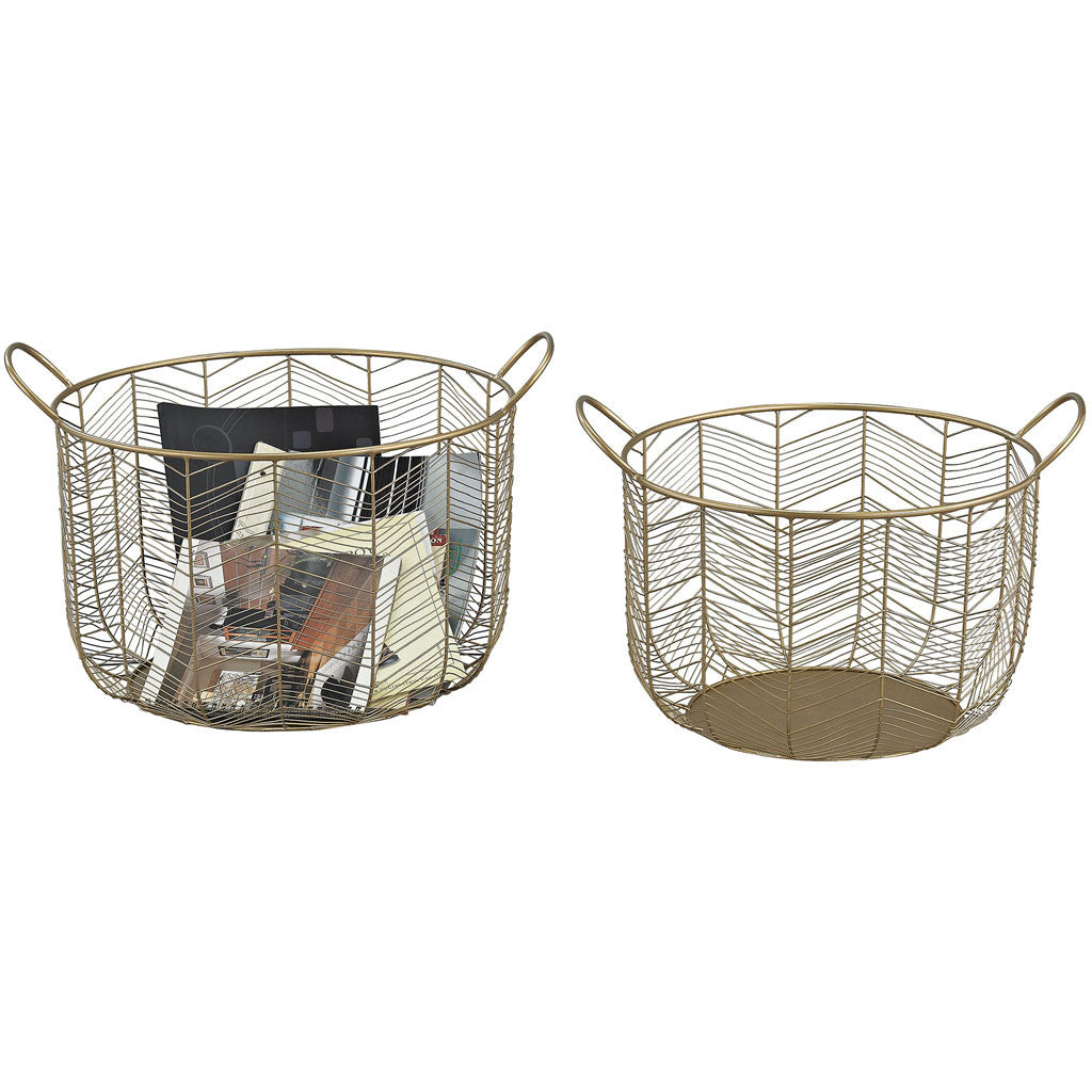 Taylor Metal Basket Gold (Set of 2)
