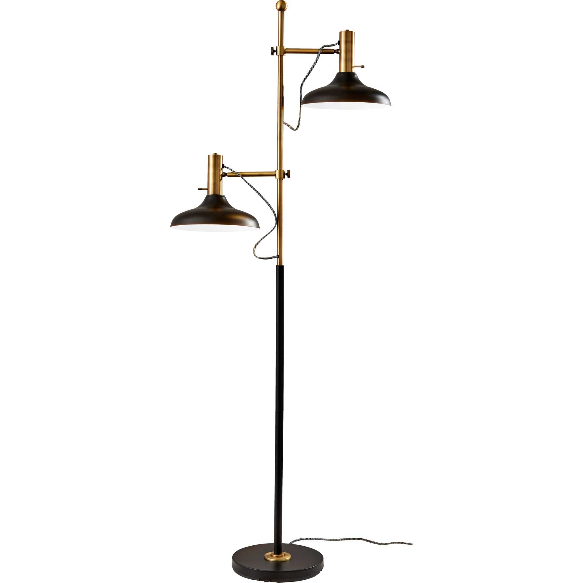 Keith Floor Lamp Black/Antique Brass