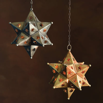 Octavia Hanging Star Metal Lantern Antique Silver