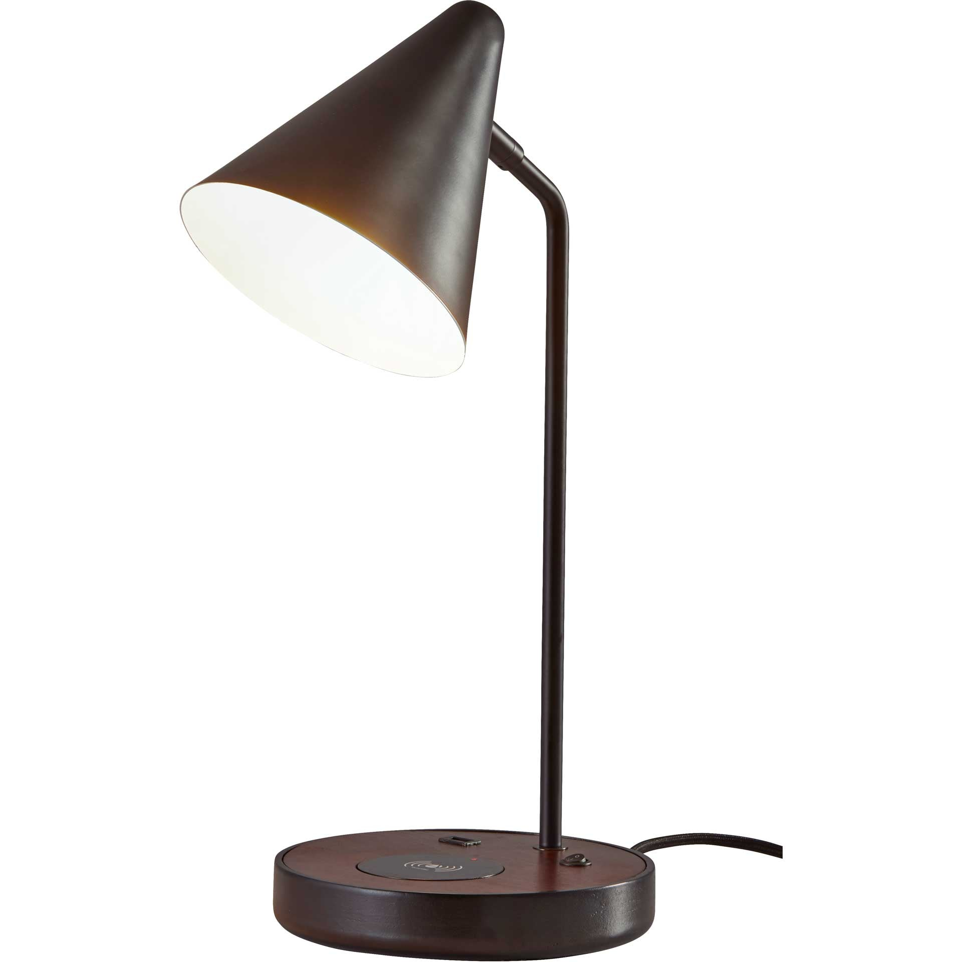 Orvault Wireless Charge Desk Lamp Black/Walnut