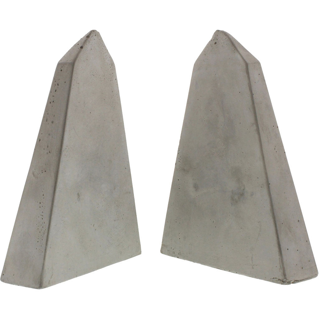 Geometric Cement Bookends Obelisk
