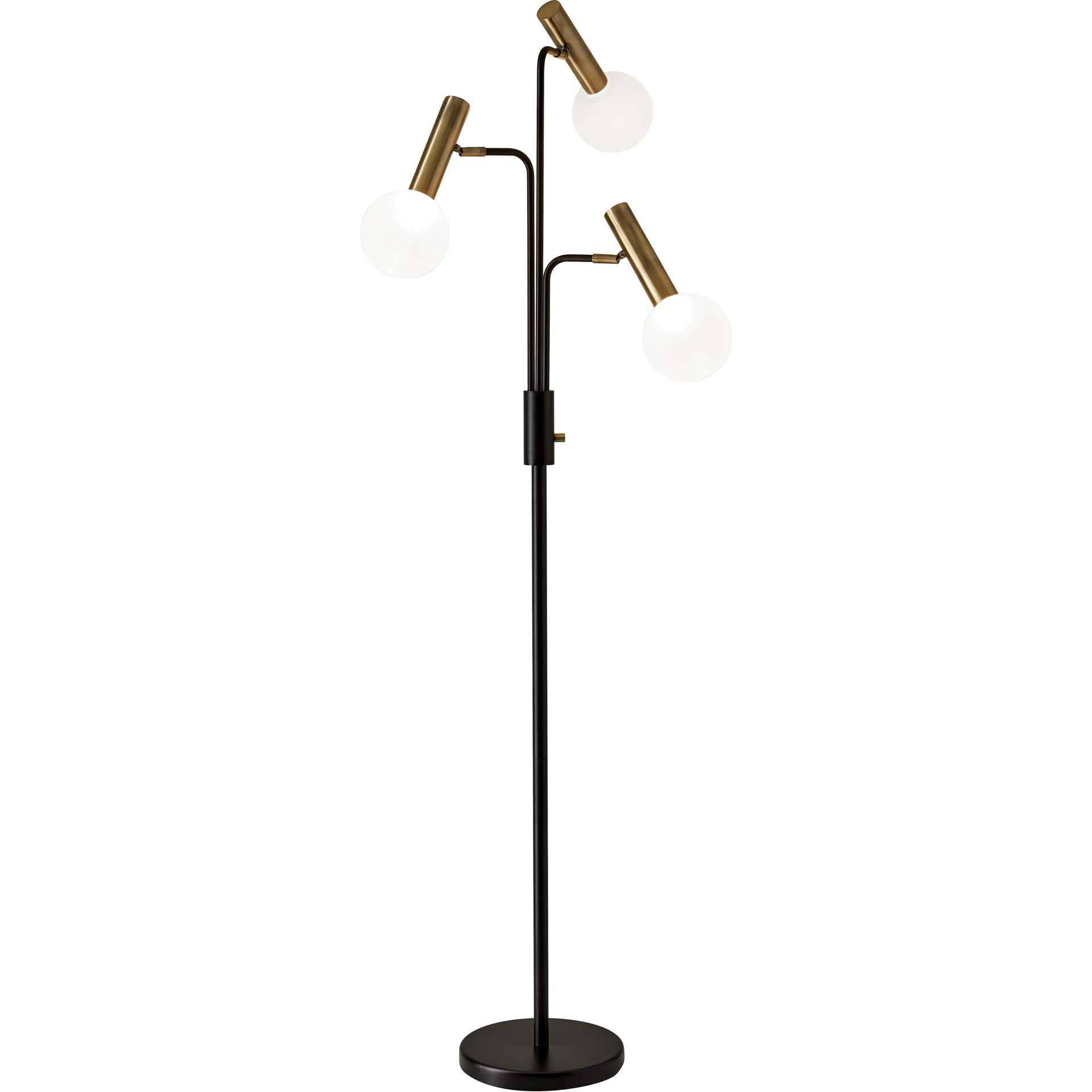 Simon LED 3-Arm Floor Lamp Black/Brass