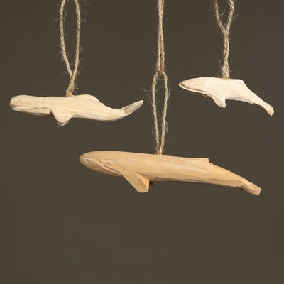 Carved Wood Blue Whale Ornament