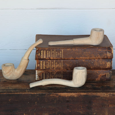 Carved Wood Pipes (Set of 3)