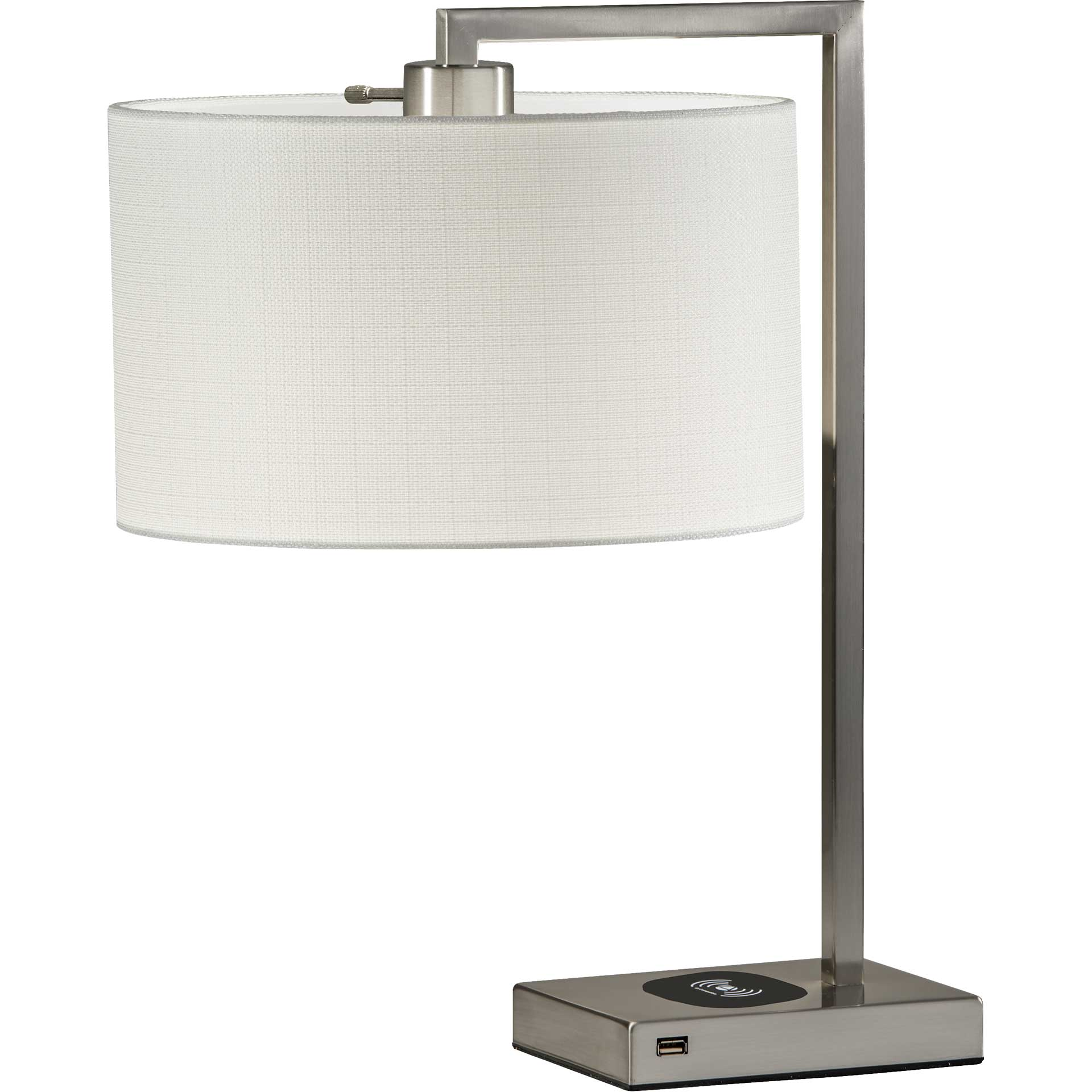 Aurillac Wireless Charge Table Lamp Brushed Steel