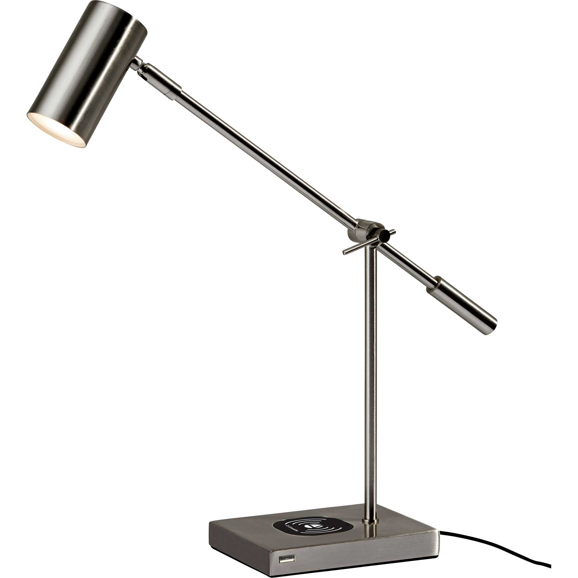 Colombes Wireless Charge Desk Lamp Brushed Steel