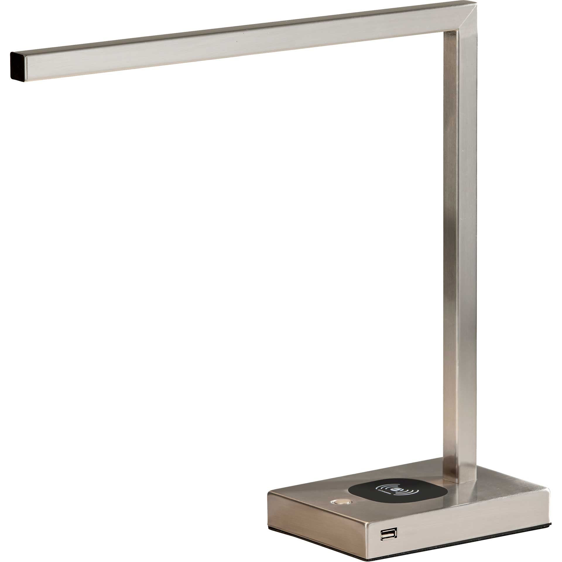 Abbeville Wireless Charge Desk Lamp Brushed Steel