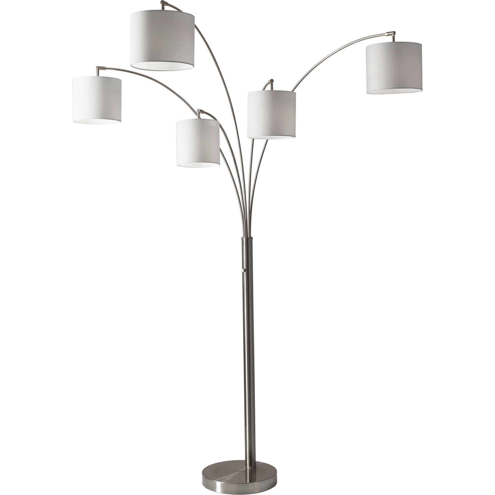 Trident 5-Arm Arc Lamp Brushed Steel