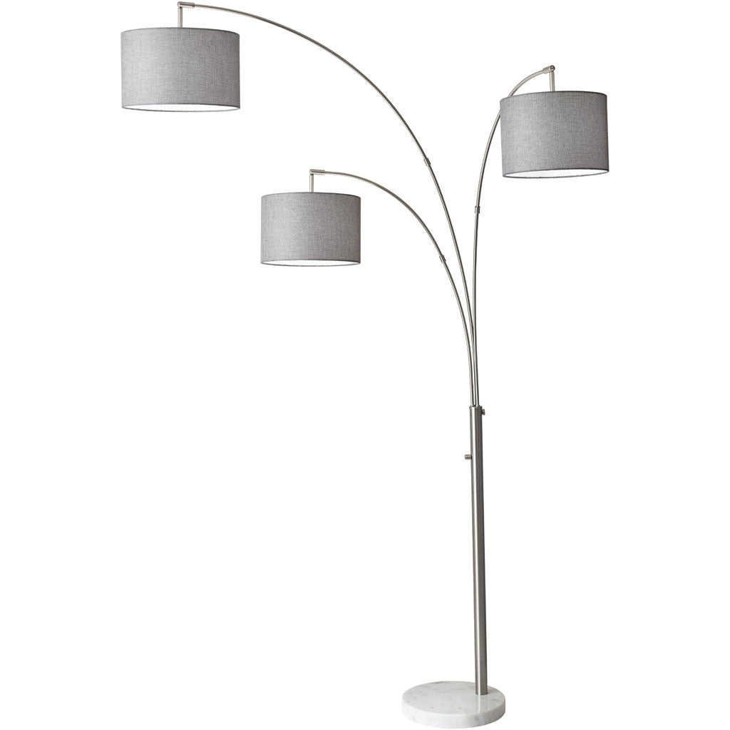 Boston 3-Arm Arc Lamp Brushed Steel