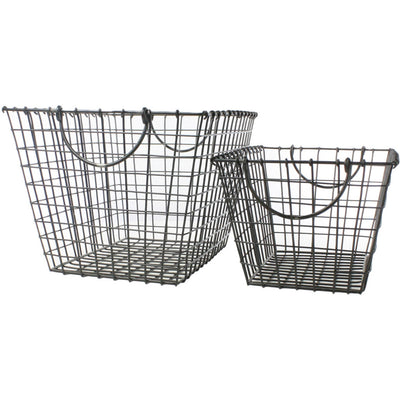Derby Metal Rectangle Baskets (Set of 2)