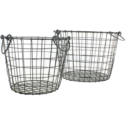 Derby Metal Round Baskets (Set of 2)