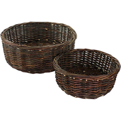 Orchard Willow Low Round Basket (Set of 2)