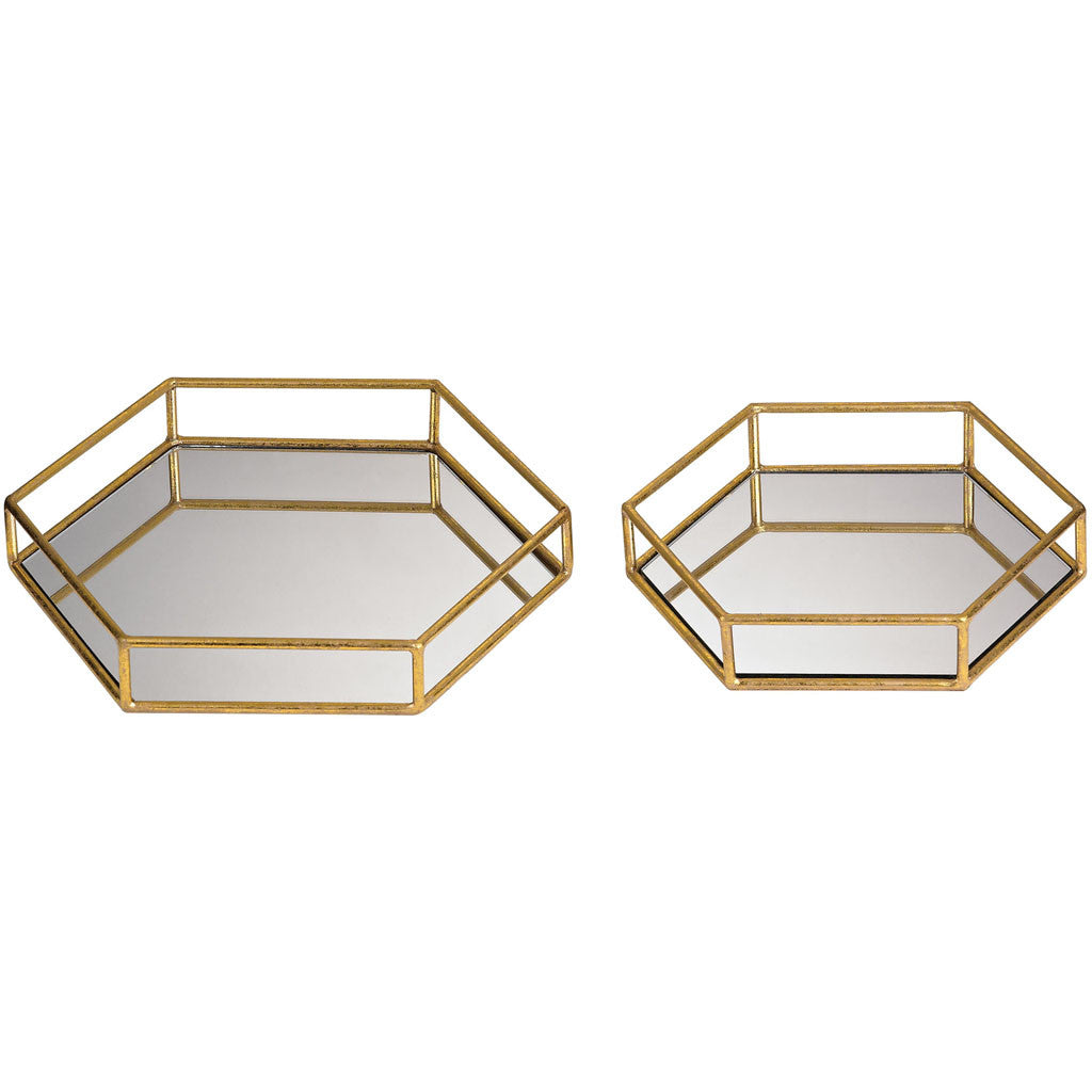 Klein Mirrored Hexagonal Trays (Set of 2)