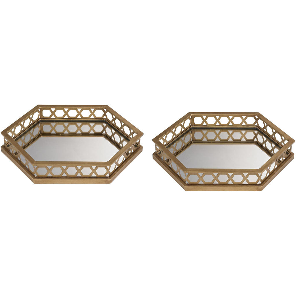 Klein Ribbed Mirrored Hexagonal Trays (Set of 2)