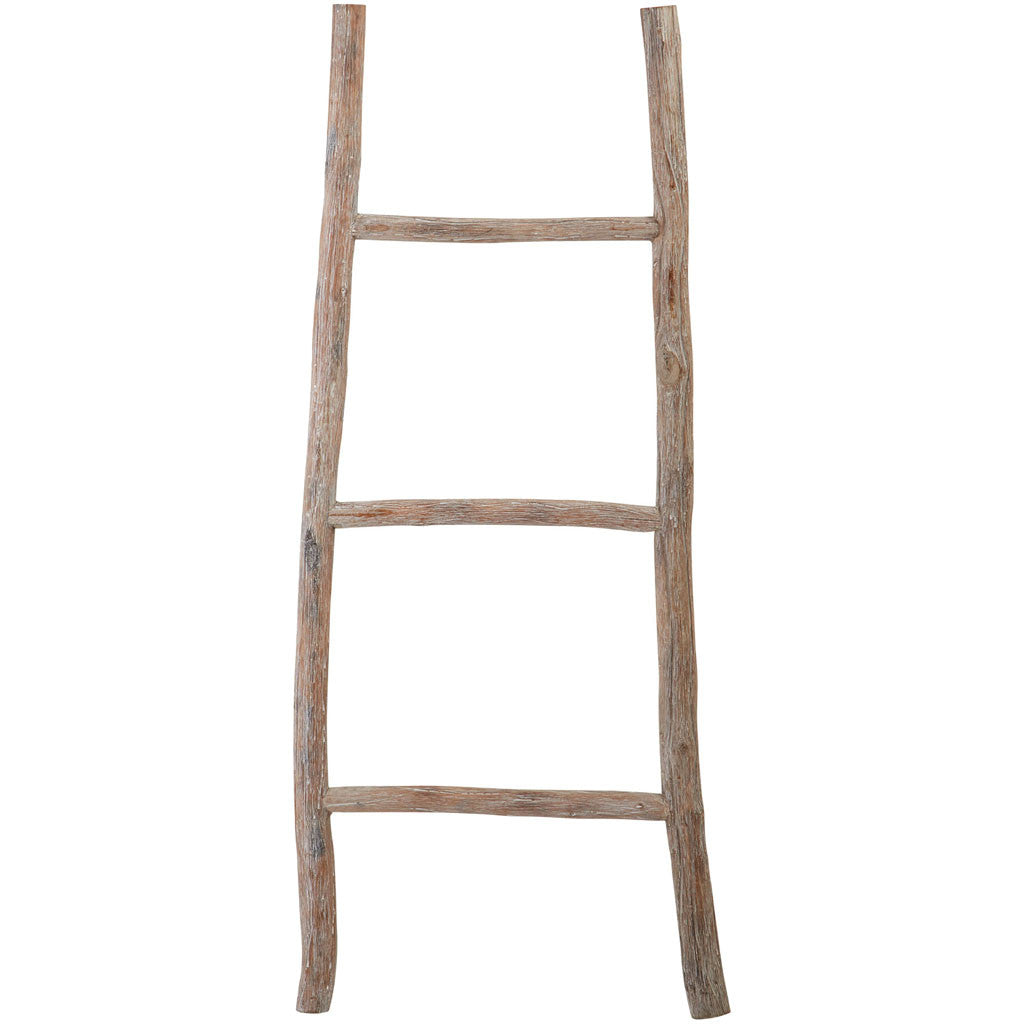 White Washed Wood Ladder Medium