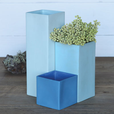 Pier Small Cube Vase Dark Blue