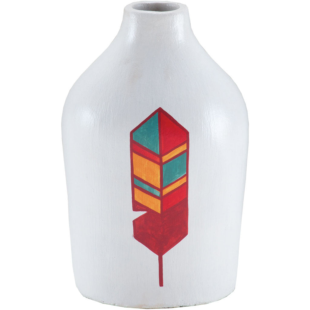 Hawk Feather Hand Painted Vase