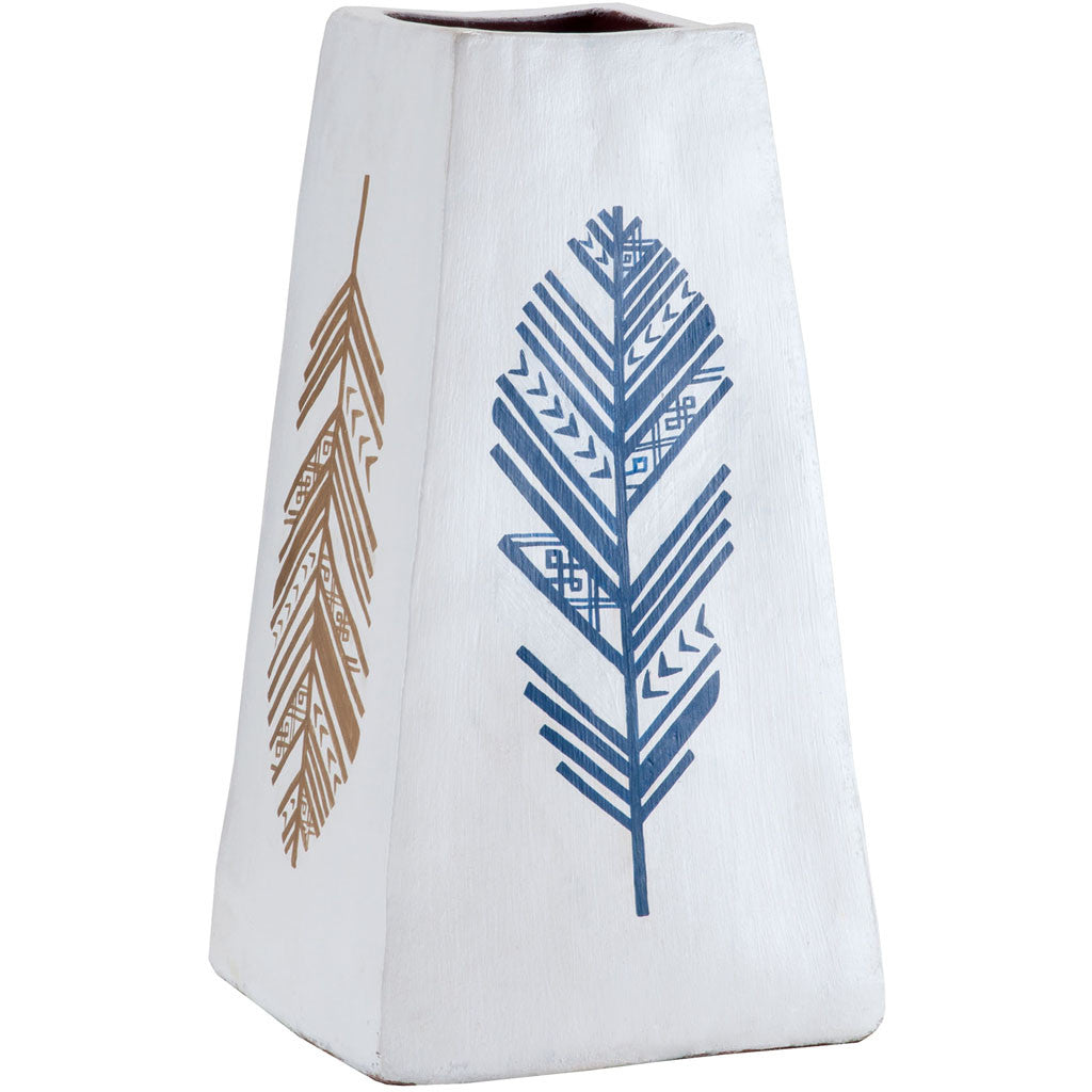 Feather Notes Painted Vase