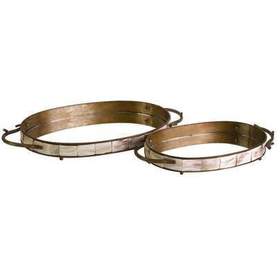 Norton Oval Tray With Mirror (Set of 2)