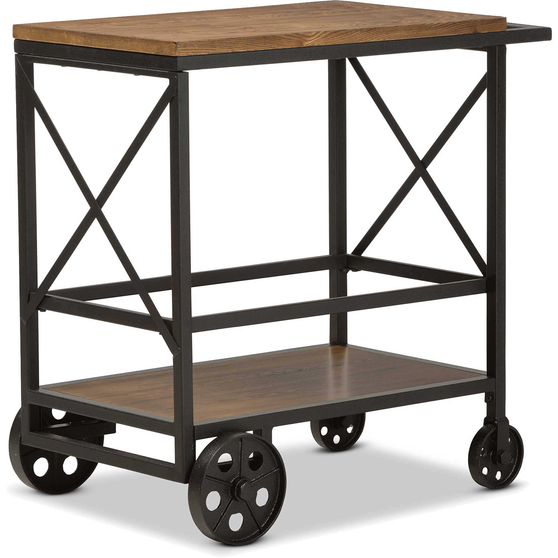 Charlie Mobile Serving Cart Oak/Black
