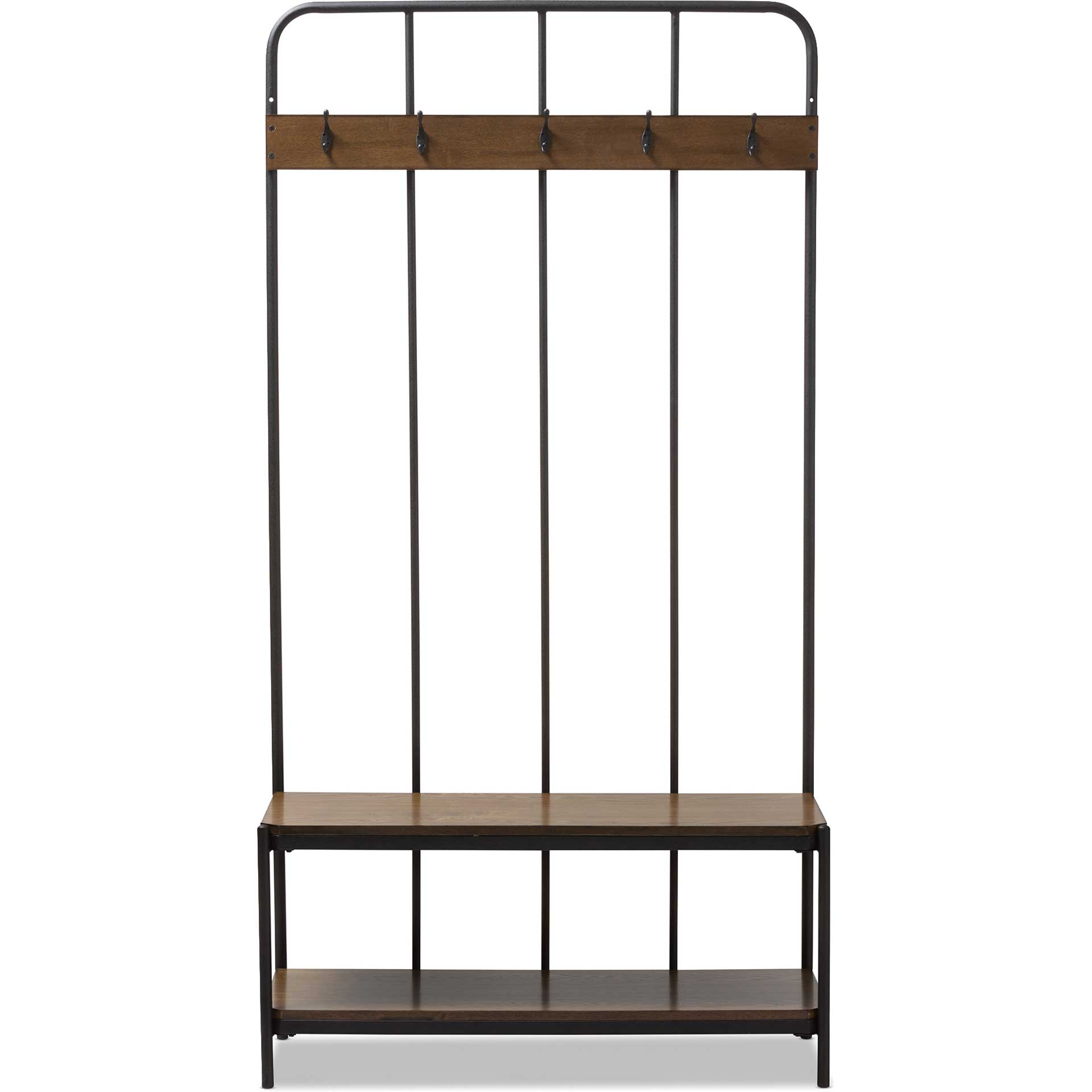 Humaira Entryway Hall Tree Hanger Black/Walnut