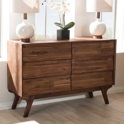 Siara 6-Drawer Dresser Brown