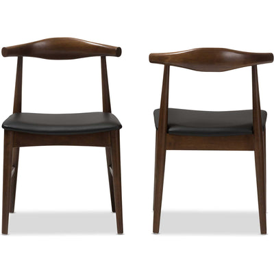 Wiley Dining Chair Black/Walnut (Set of 2)