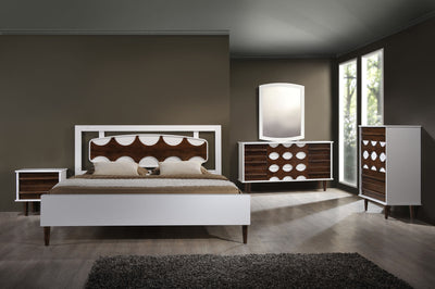 Seaton Bed Walnut & White