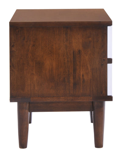 Lan Night Stand Walnut & White