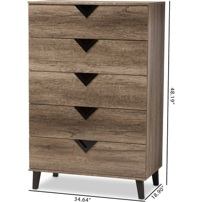 Waverly 5-Drawer Chest Light Brown