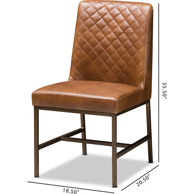 Mabelle Faux Leather Dining Chair Brown (Set of 2)
