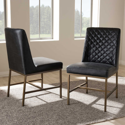 Mabelle Faux Leather Dining Chair Black (Set of 2)