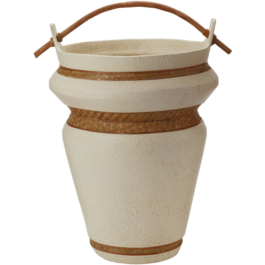 Sculpted Woven Seagrass Trim Urn