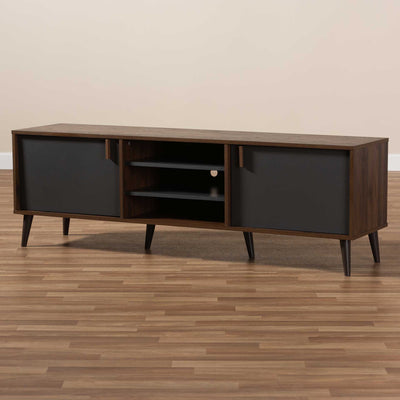 Sabastian TV Stand Walnut/Dark Gray