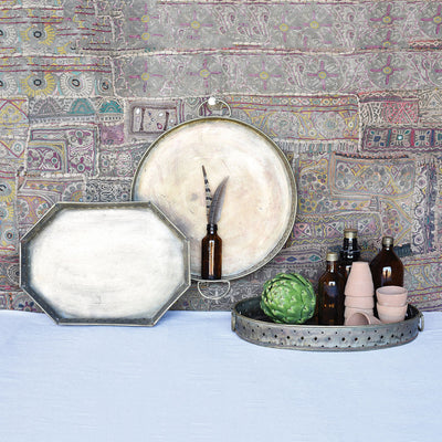 Drew Bar Tray Round Antique Brass