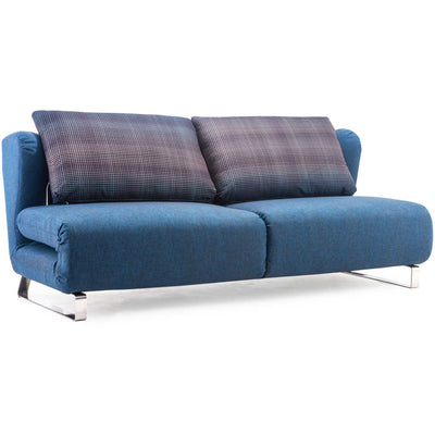 Chester Sofa Sleeper Cowboy Blue Body & Shadow Grid Cushion
