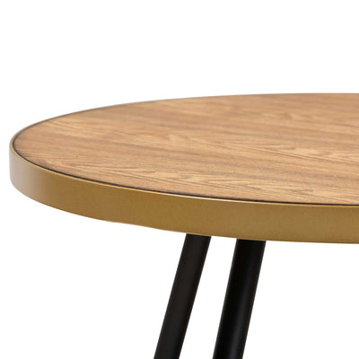 Seattle Wood/Metal Coffee Table Walnut/Black/Gold
