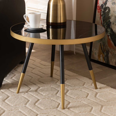 Seattle Marble/Metal Coffee Table Black/Gold