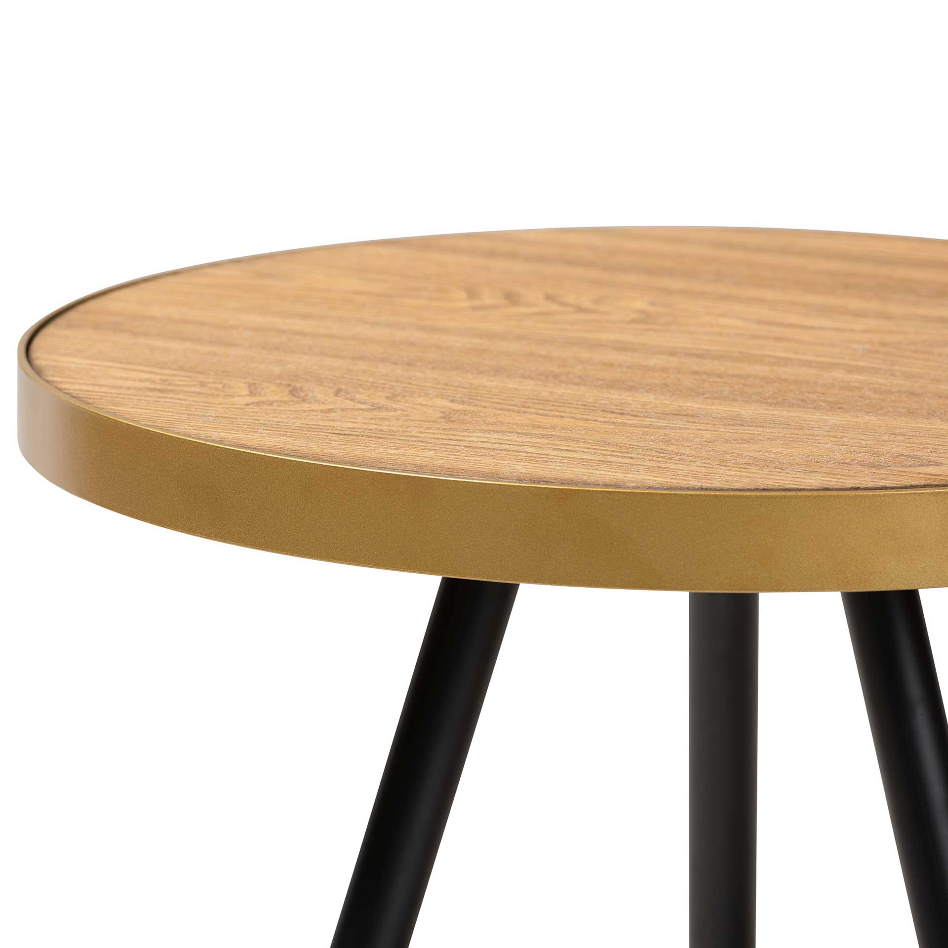 Seattle Wood/Metal End Table Walnut/Black/Gold