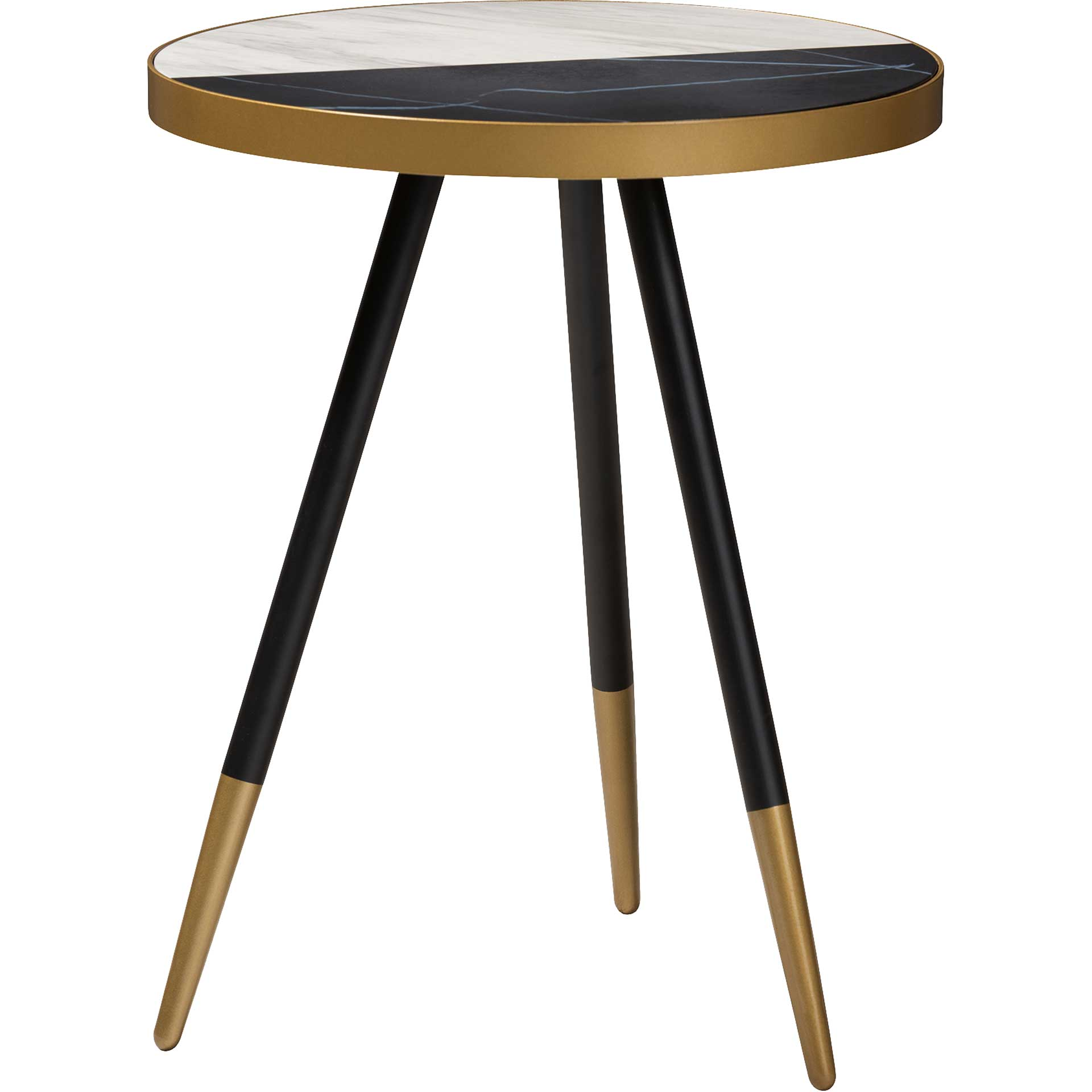 Seattle Marble/Metal End Table Black/Gold