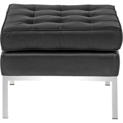 Belmont Ottoman in Leather Black
