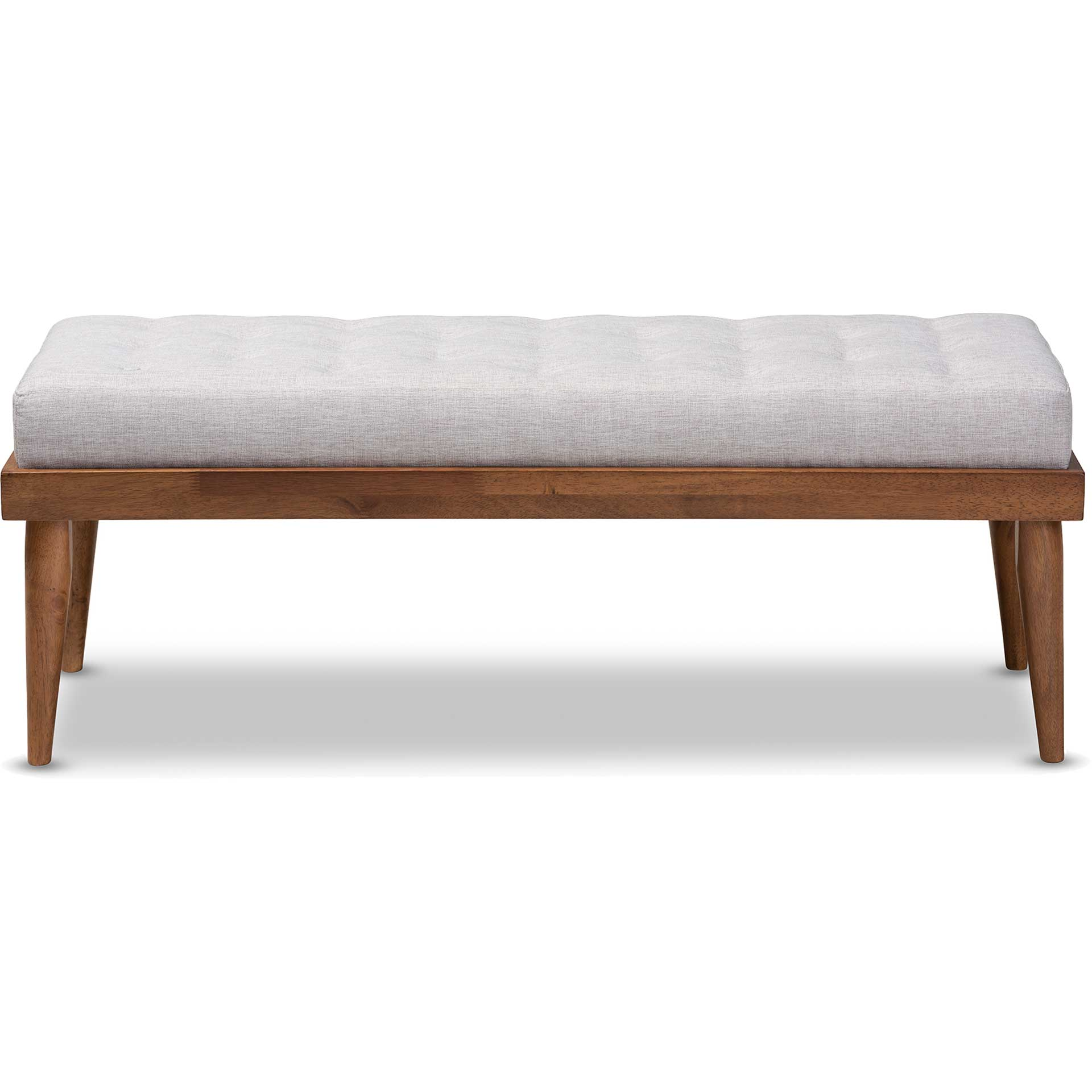 Seattle Fabric Upholstered Bench Grayish Beige/Walnut