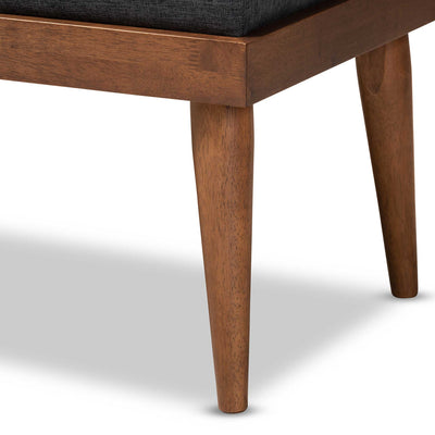 Seattle Fabric Upholstered Bench Charcoal/Walnut