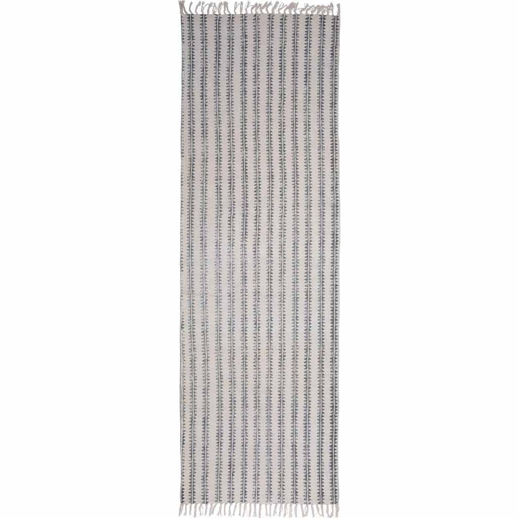Sawtooth Stripe Block Print Runner Rug