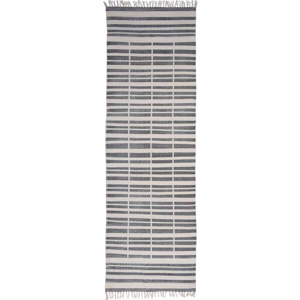 Broken Stripe Block Print Runner Rug